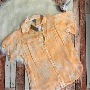 Ecote Tie Dye Blouse Shirt Peach XS NWT